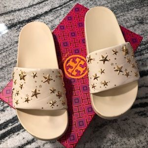 Tory Burch Star Slides - Cream/Gold - Size 9